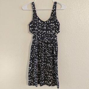 Black Stretch Skull Dress w/ Side Cut Outs